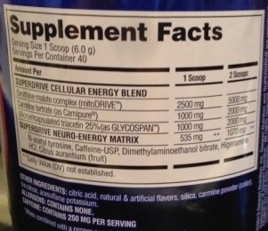 The Gaspari SuperDrive Ingredients from the Arnold