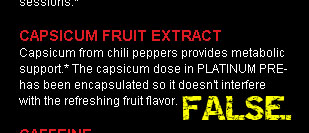 Platinum Pre Flavor Unaffected by Red Pepper? FALSE.