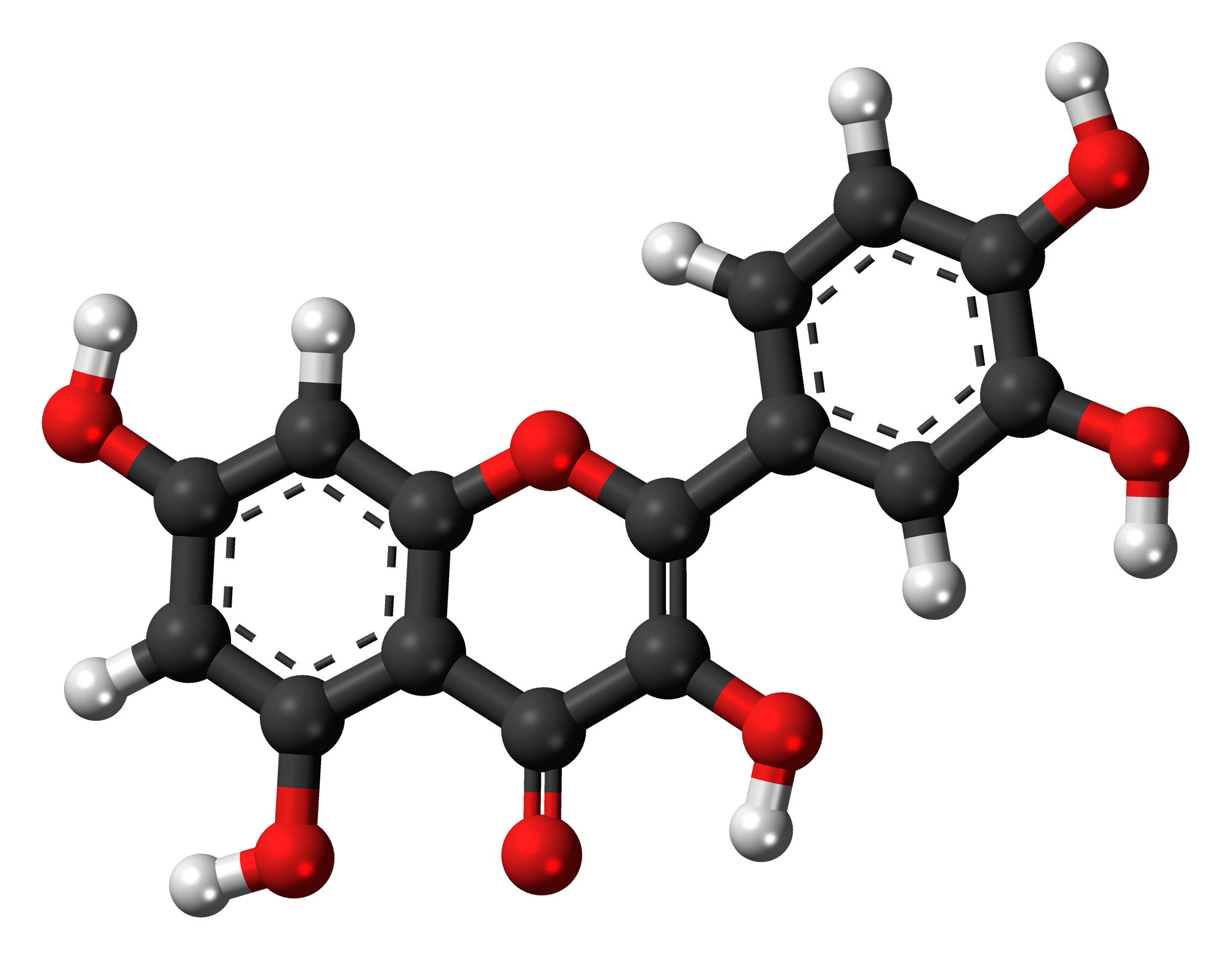 Molecular structure of quercetin