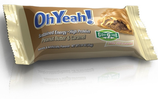 OhYeah! Peanut Butter & Caramel bar is a low-carb, protein-rich, grab-and-go snack.