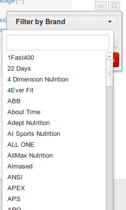 Click Filter by Brand to see the list of potential brands.  The list on this page is huge because so many companies have a protein product.