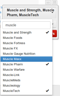 The list is refined to brand names containing the word Muscle