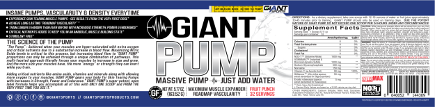 Giant Sports Giant Pump Nutrition Label