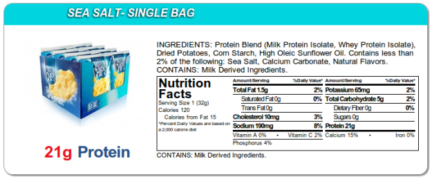 Quest Protein Chips - Sea Salt Ingredients