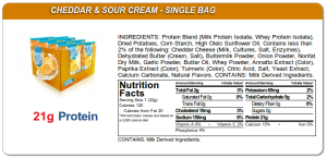 Here's the nutritional panel for Quests cheddar and sour cream chips.