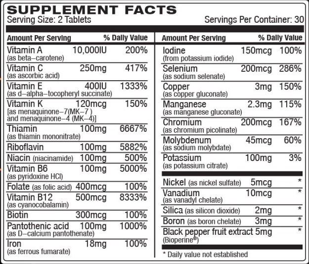 Vita JYM Ingredients