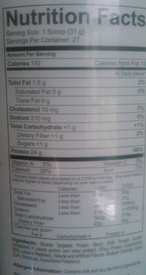 PES Select Protein Ingredients and Nutrition Label