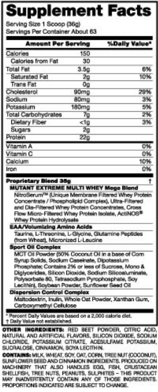 Mutant Whey Ingredients (Class Action Lawsuit)