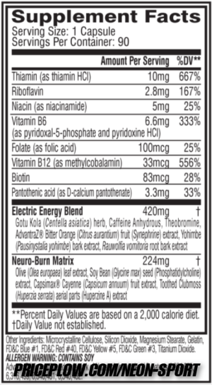 Neon Sport Thermo-Rev Ingredients