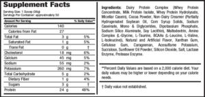 Nitro-Peak Ingredients