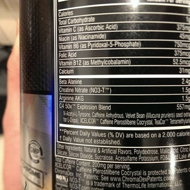 Cellucor C4 50X Ingredients