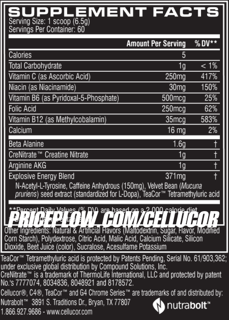 Cellucor C4 New Formula Ingredients