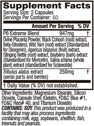 Cellucor P6 Extreme Ingredients