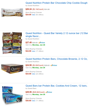 Amazon Quest Bars
