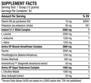 ANS Amino-HP Ingredients