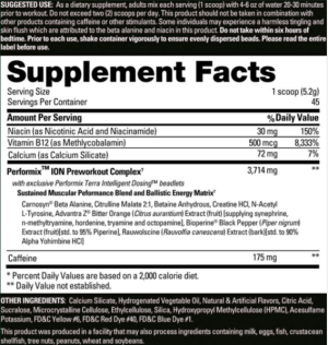 Performix Ion Ingredients