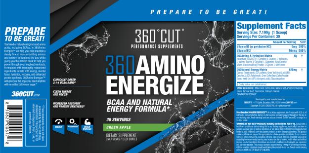 360 Amino Energize Label