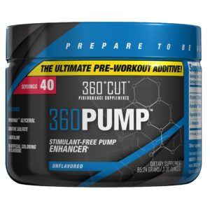 360PUMP is the newest pre workout formula from 360CUT Supplements designed to stack perfectly with any pre to increase pumps and endurance!