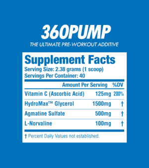 360PUMP has a simple, straightforward, transparently dosed, formula that will deliver some strong pumps and better endurance.