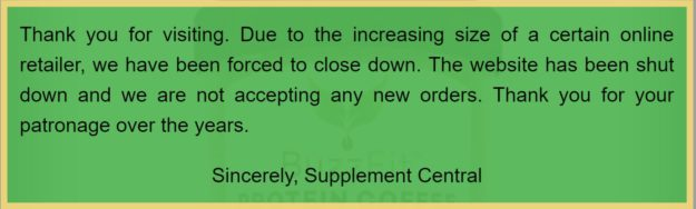 Supplement Central Shuts Down