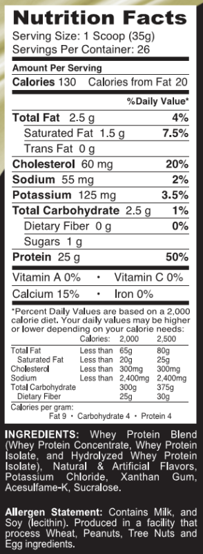 Adaptogen Science Tasty Whey Deluxe Ingredients