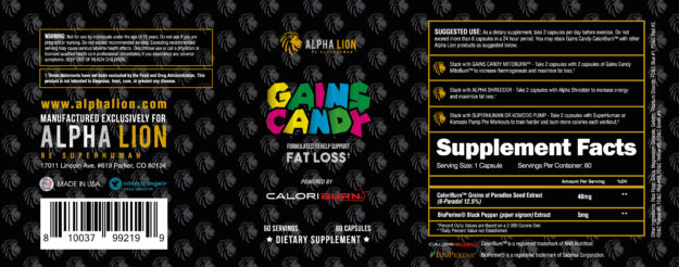 Alpha Lion Gains Candy CaloriBurn Label