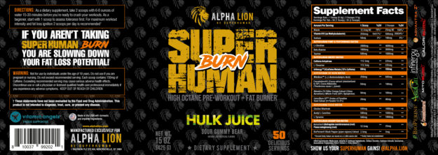Alpha Lion SuperHuman Burn Label