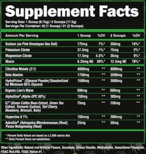 Alpha Lion SuperHuman Pump Ingredients