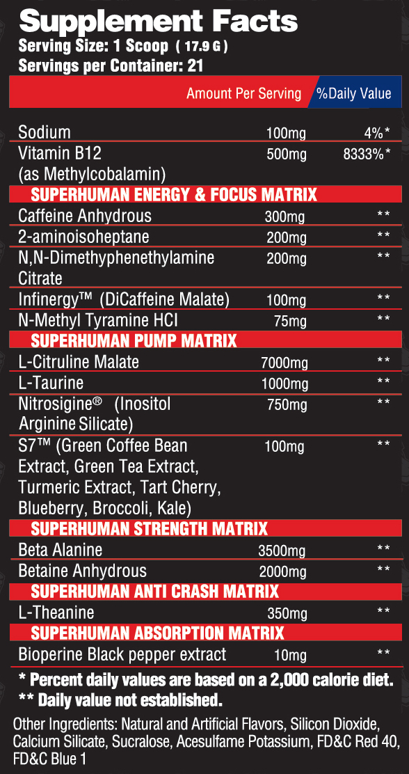 Alpha Lion SuperHuman Supreme Ingredients