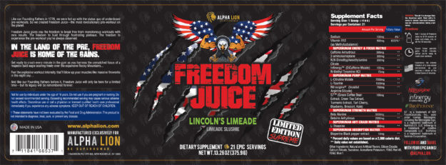 Alpha Lion SuperHuman Supreme Freedom Juice Label