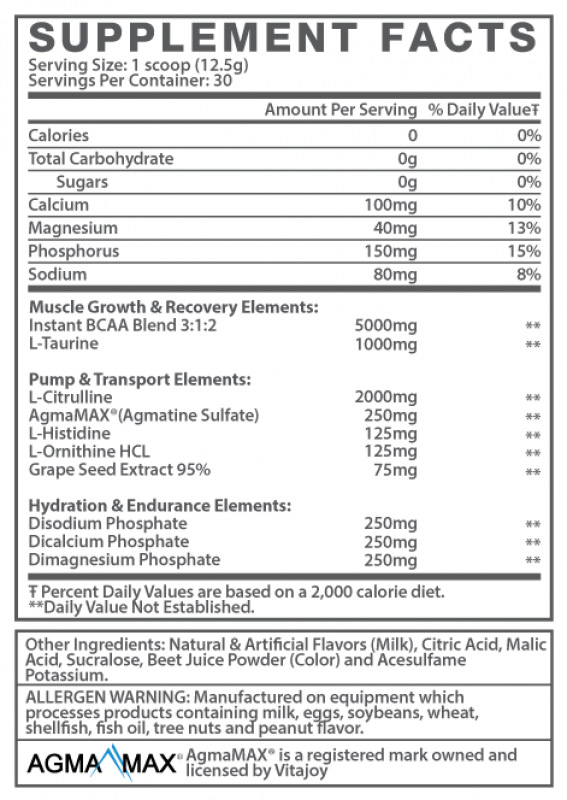 The AmiNO Flow Ingredients