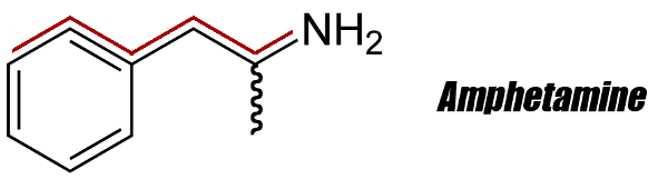 Amphetamine 2D Structure with PEA Backbone Highlighted