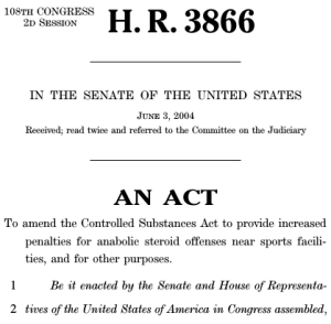 Anabolic Steroid Control Act of 2004