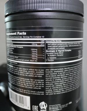 Animal Cuts Powder Nutrition Label