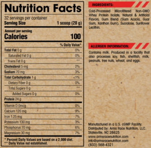 Arms Race Nutrition Elevation Ingredients
