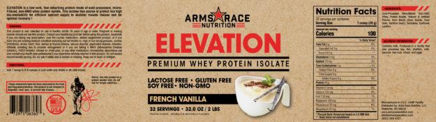 Arms Race Nutrition Elevation Label