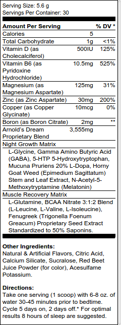 Arnold Iron Dream Ingredients