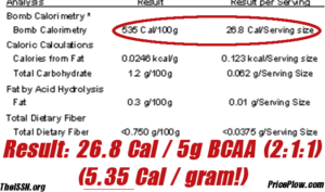 BCAA Calories Bomb Calorimetry by Doug Kalman