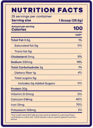 BEAM Vegan Protein Blueberry Muffin Nutrition Facts
