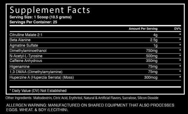 Blackstone Labs Dust Extreme 2017 DMAA Version Ingredients