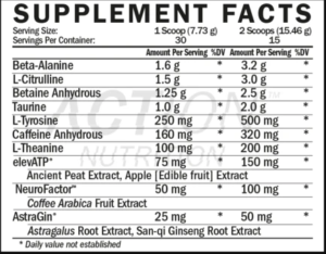 Bolt Extreme Energy Supplement Facts