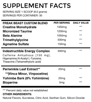 BroSupps Gnar Pump Ingredients