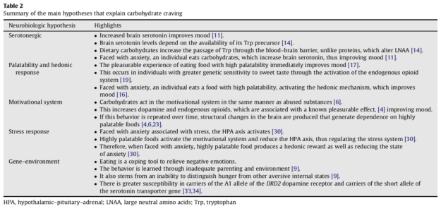 Carbohydrate Craving Hypotheses