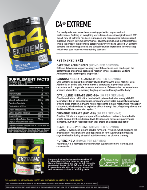 Cellucor C4 Extreme Specs