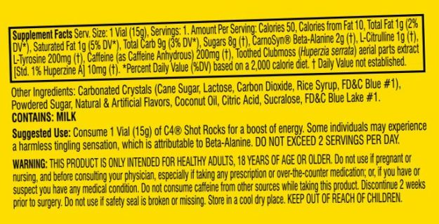 Cellucor C4 Pop Rocks Ingredients