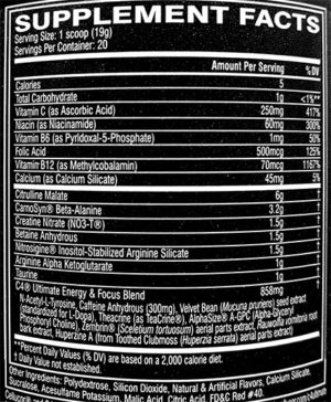 Cellucor C4 Ultimate Ingredients