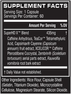Cellucor Super HD Xtreme Ingredients