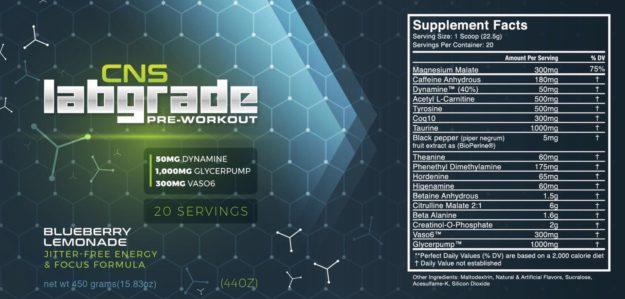 CNS Labgrade Pre Workout Label