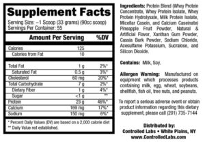 Controlled Labs PROmore Ingredients