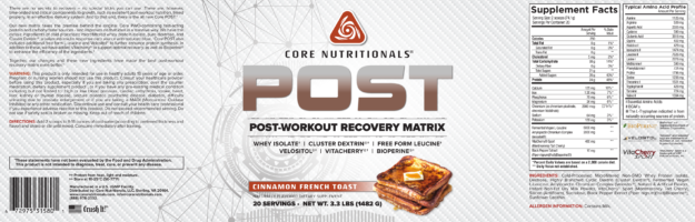 Core Nutritionals Post Cinnamon French Toast Label